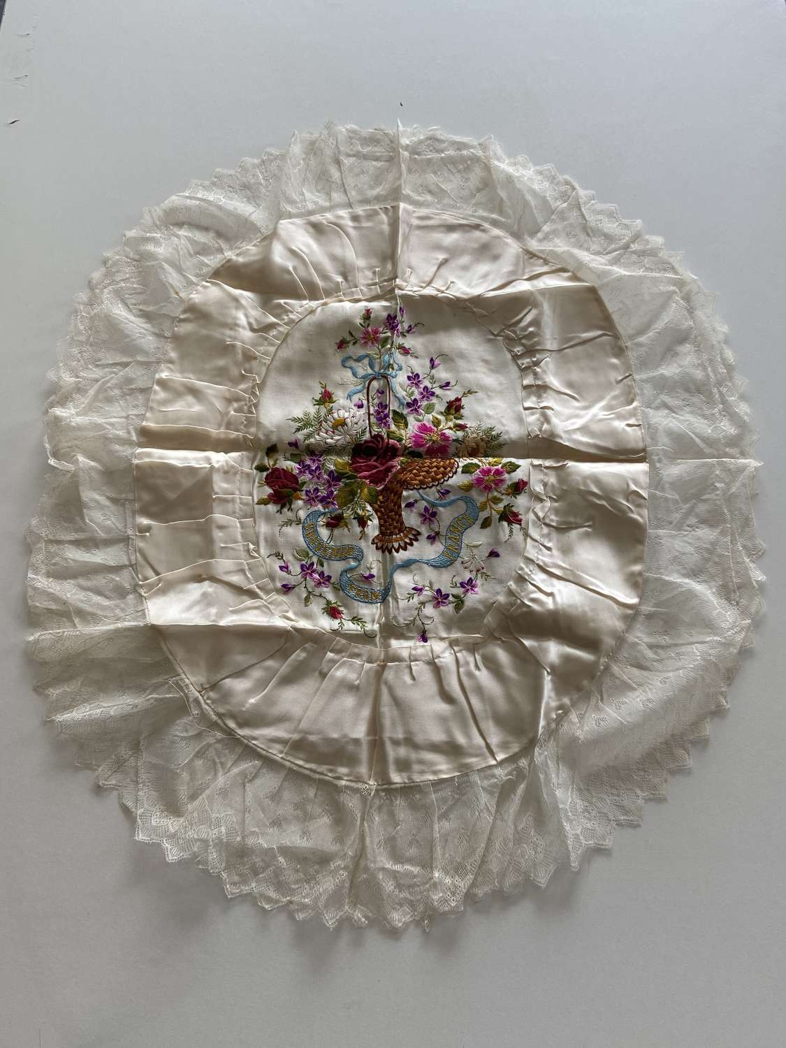 WW1 Souvenir From France Silk & Embroidery Table Throw