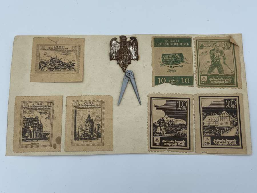 WW2 German D J H WHW Stamps And Badge