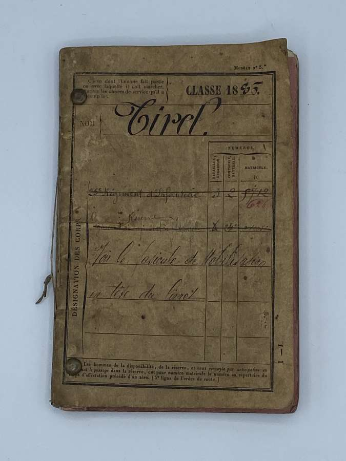 1886-1897 French Military Pass, Paybook, Diary 76th Infantry Regiment