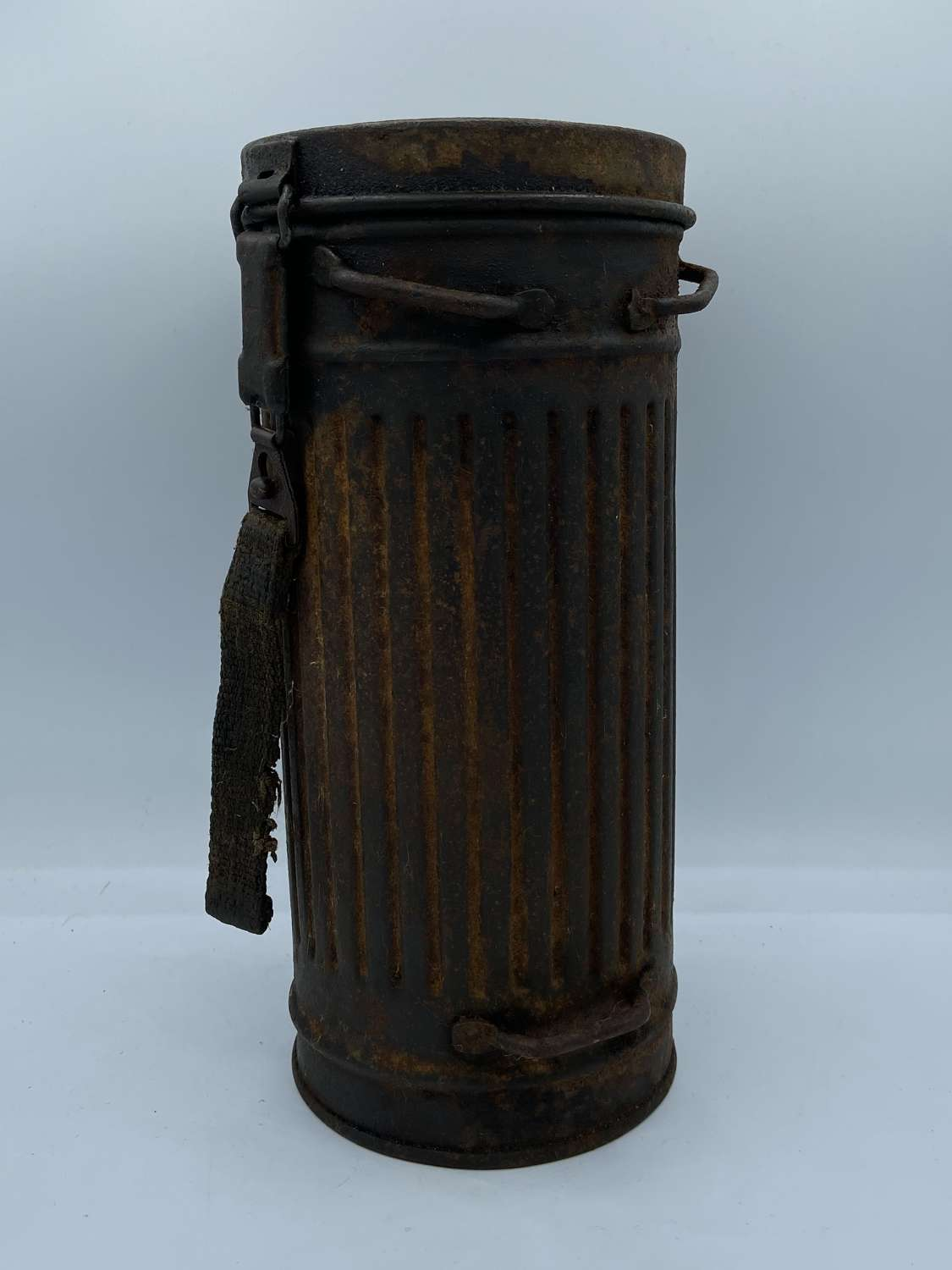 WW2 German Luftwaffe Gas Mask Canister Marked D On Base