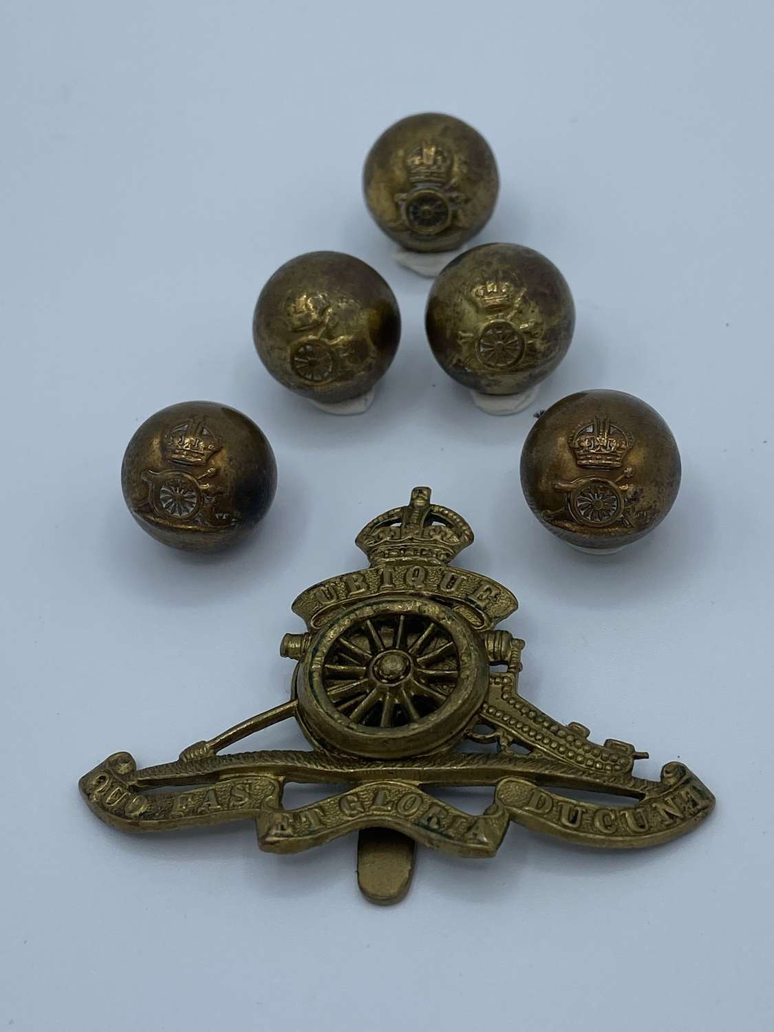 Ww1 Royal horse artillery Buttons And Slider Cap Badge Marked FN BHAM