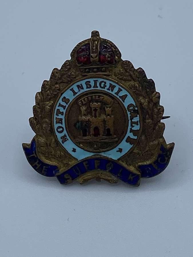 WW1 The Suffolk Regiment Brass & Enamel Sweetheart Brooch