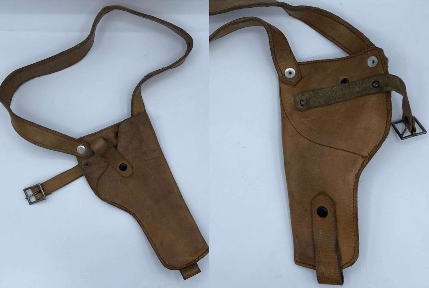1950s French Police Leather Pistol Holster And Strap