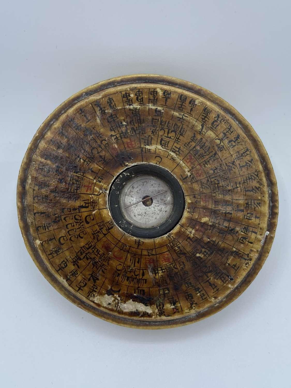 Antique 1820s Loupon Feng Shui Compass Fang Xiu-shui  Signed Reverse