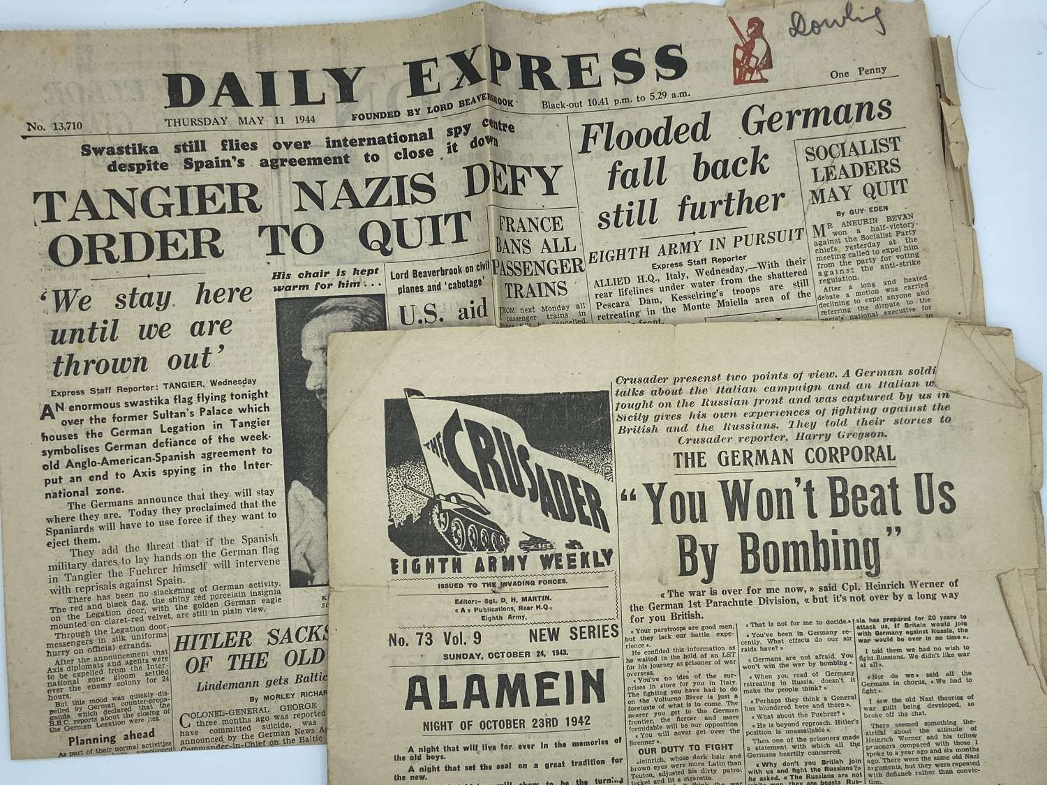 Pair Of Ww2 British Newspaper Covers Interesting Read