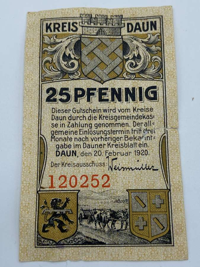 Pre WW2 25 Pfennig Kreis Daun Ticket Token Currency 1920 Dated