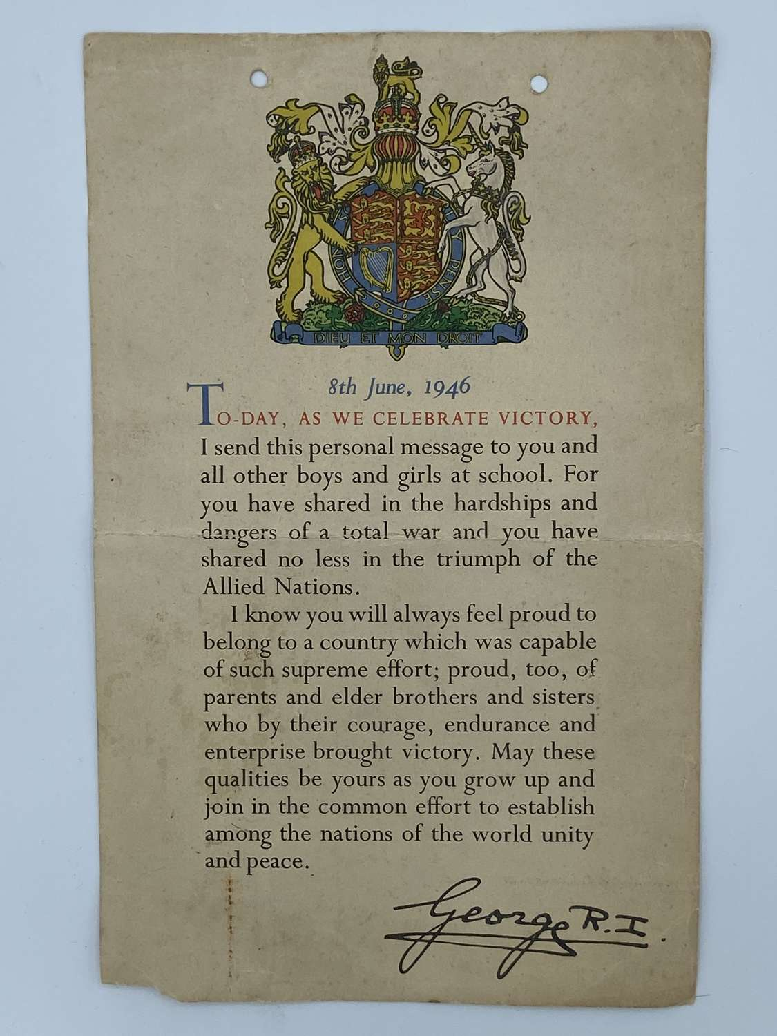 WW2 1946 As We Celebrate Victory Certificate British Home front