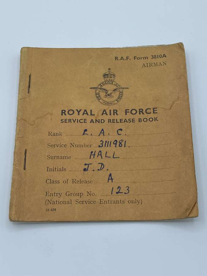 Post WW2 RAF Release Book To 31111981 LAC J D Hall 1947-50