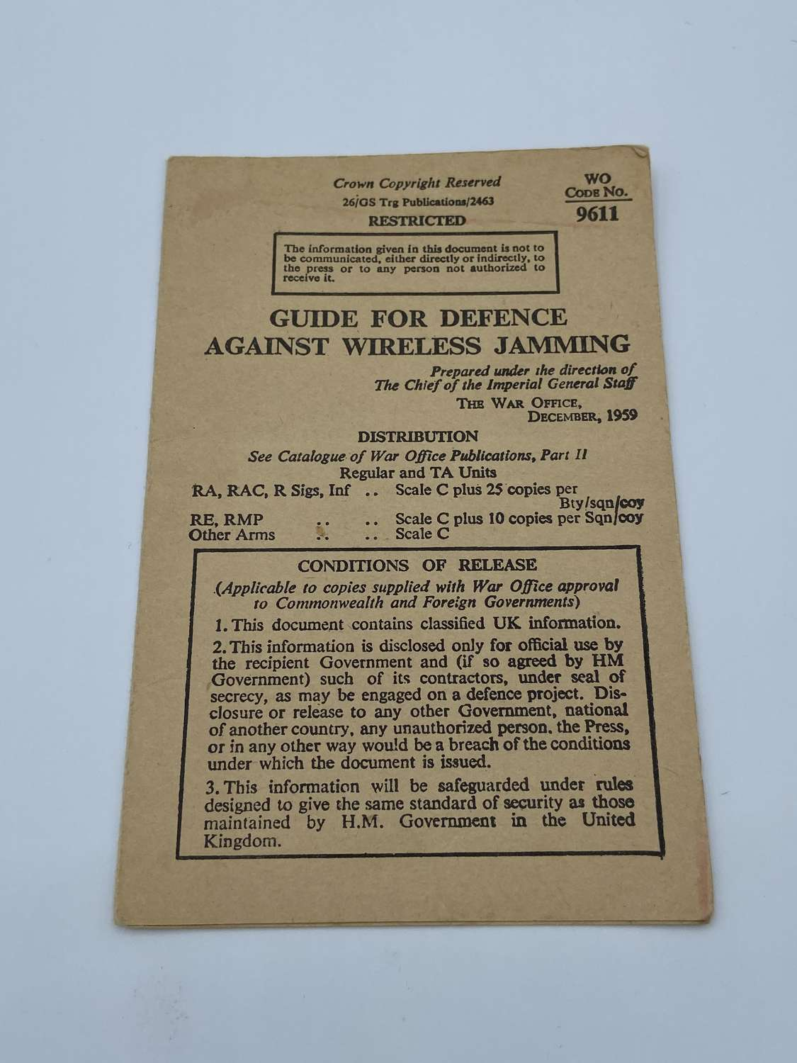 1959 Guide For Defence Against Wireless Jamming Restricted Leaflet