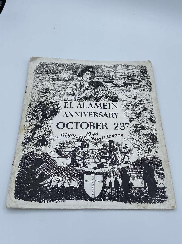 WW2 EL Alamein Anniversary Oct 23rd 1946 Royal Albert Hall Booklet