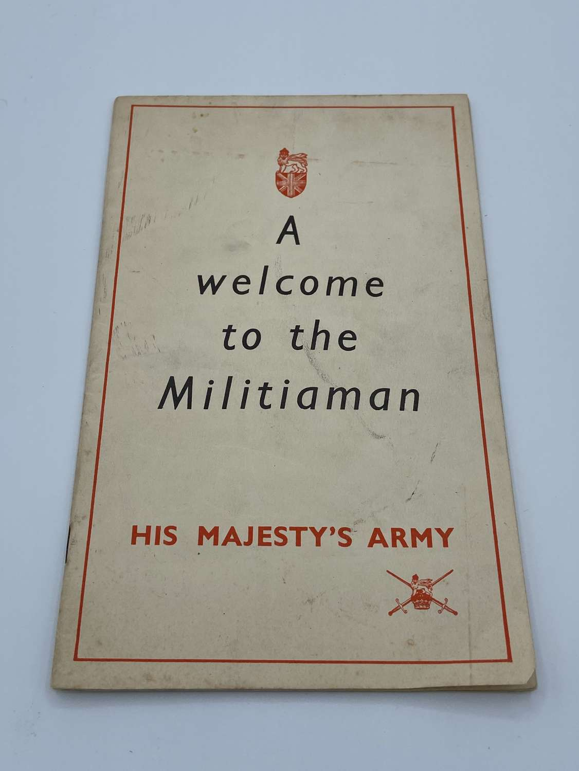 WW2 1939 Welcome To The Militiaman His Majesty's Army Booklet