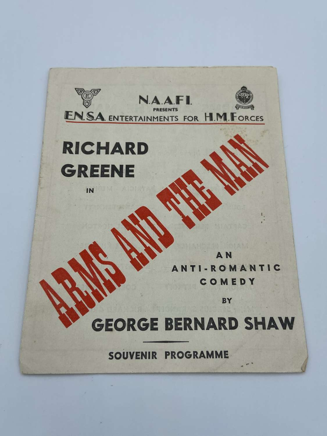 "WW2 NAAFI For HM Forces George Shaw ""Arms And The Man"" Programme"