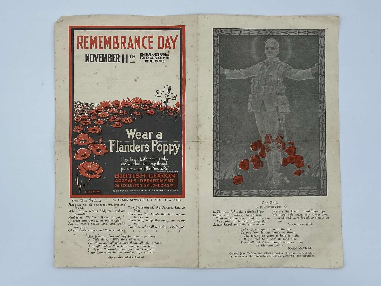WW1 Remembrance Day 1924 Wear A Flanders Poppy Leaflet