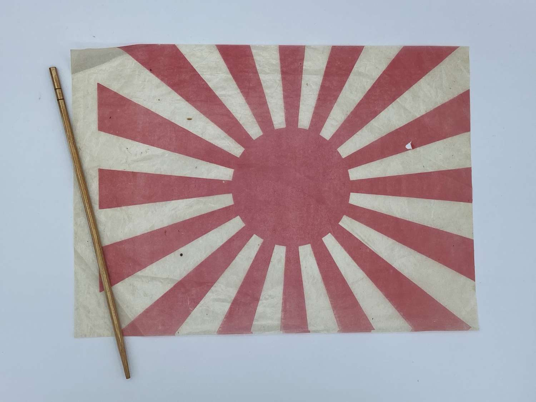 WW2 Japanese Rising Sun Rice Paper Flag & Stick