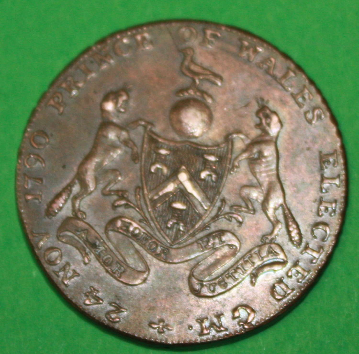 A MASONIC 1790 PRICE OF WALES ELECTED TOKEN