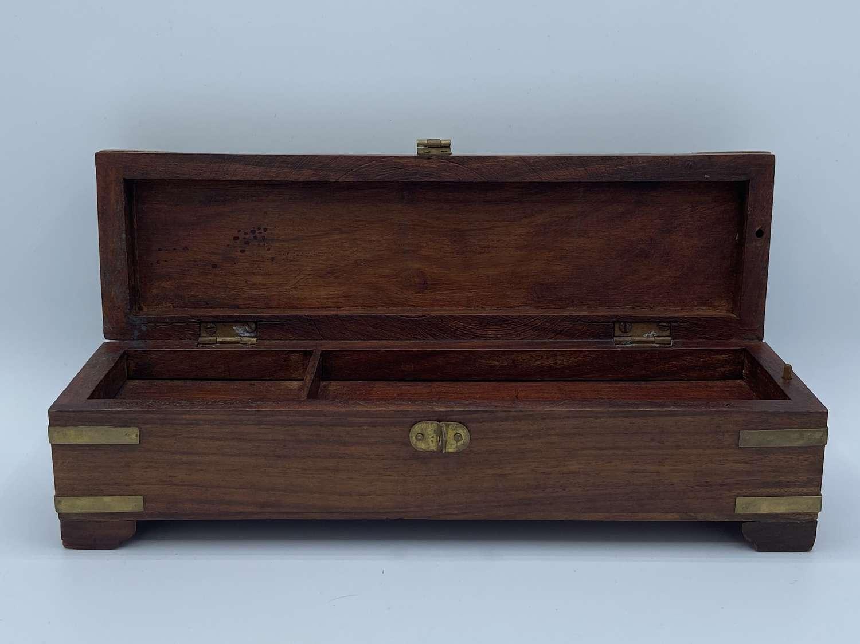 Vintage Artists Pencil Storage Box With Secret Draw mahogany & Brass