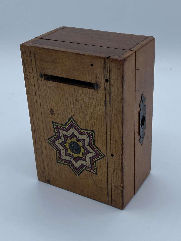 Antique 1920s Child's Mosaic Wooden Locking Money Box