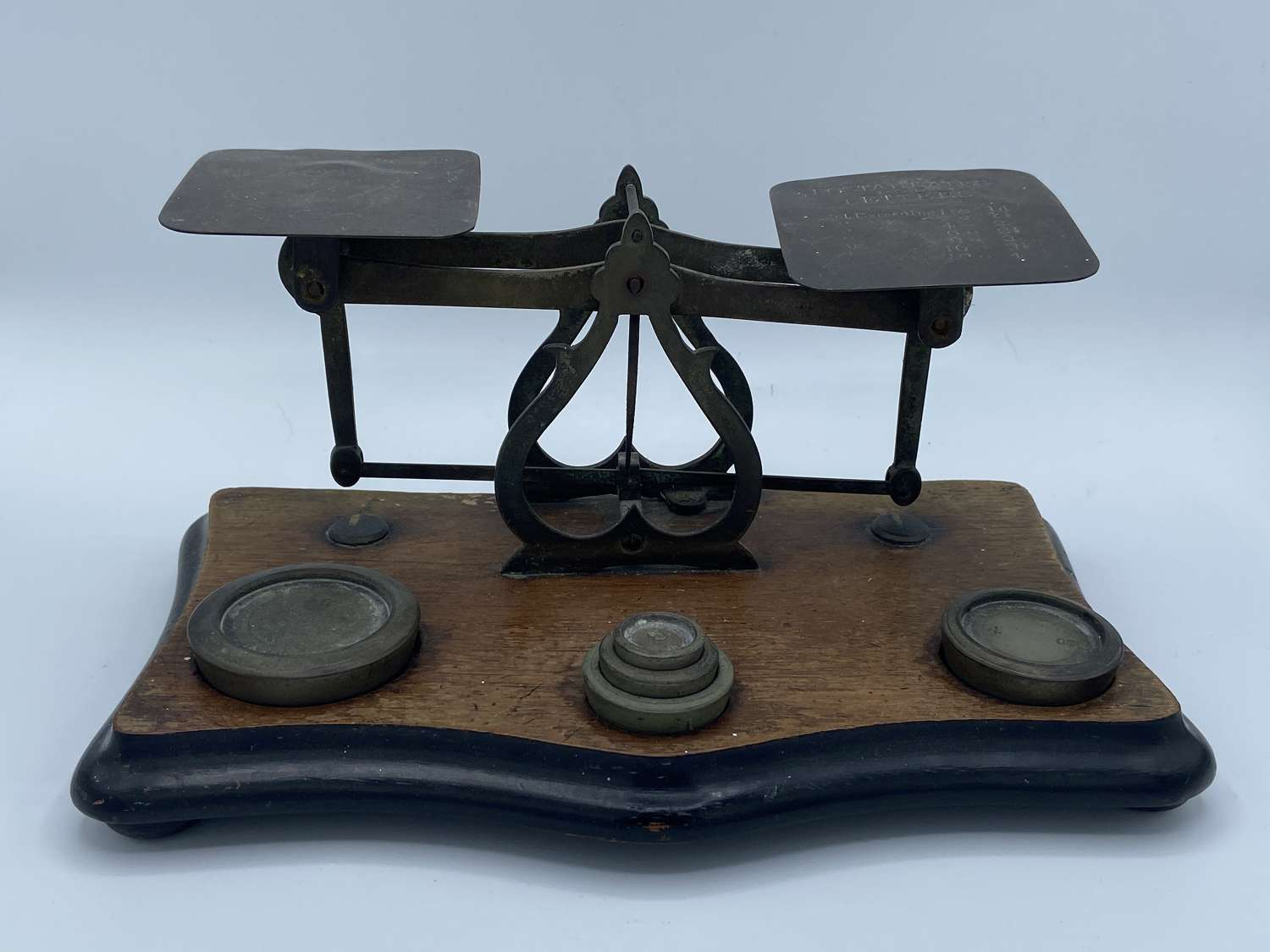 Antique Brass & Wooden Postal Scales & Weights 'Postal Rates letters
