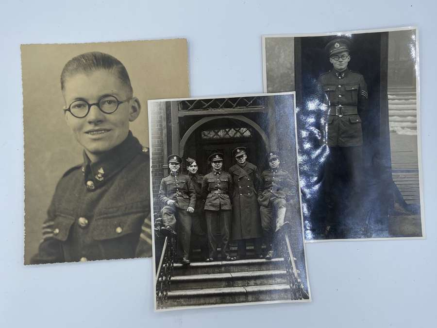 WW2 British Royal Engineers Officer Trio Of Photographs