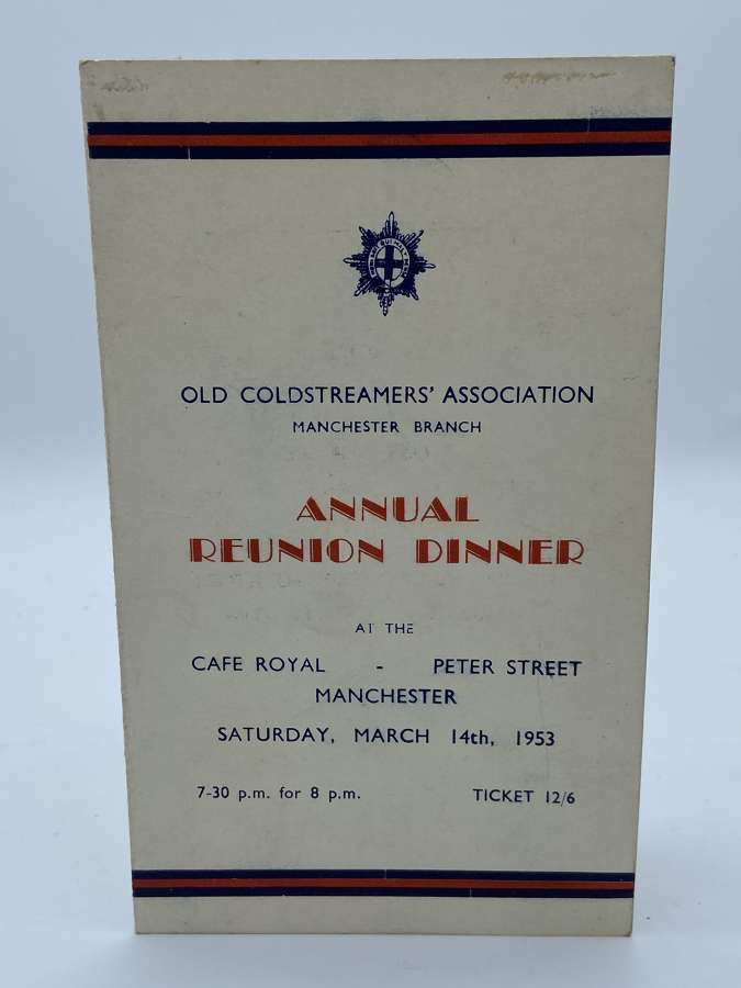 1953 Coldstreamers Association Annual Reunion Meal Card