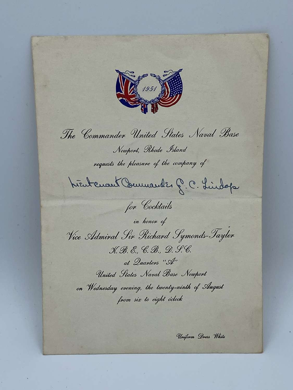 1951 Commander Of The United States Navy Base Invitation 4 Cocktails