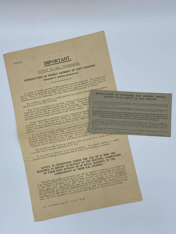 2 X WW1 Interwar Period WW2 British Army Pension Forms & Card