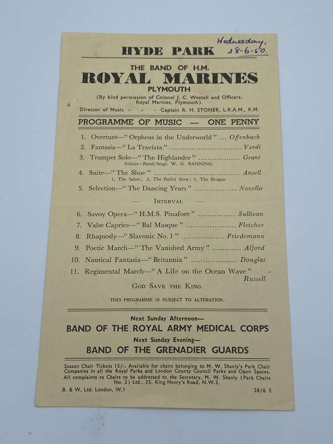 1950 Band Of HM Royal Marines Music Programme Hyde Park