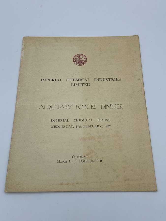 1937 Imperial Chemical Industries Lim Auxiliary Forces Dinner Menu