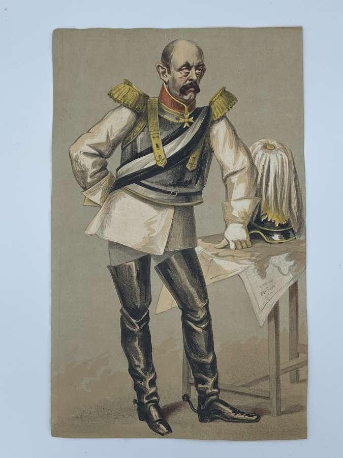 1893 Pastel Print Of Otto Von Bismark Pre WW1 German