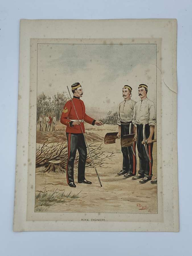 Victorian 1880s Royal Engineers Illustration/ Print