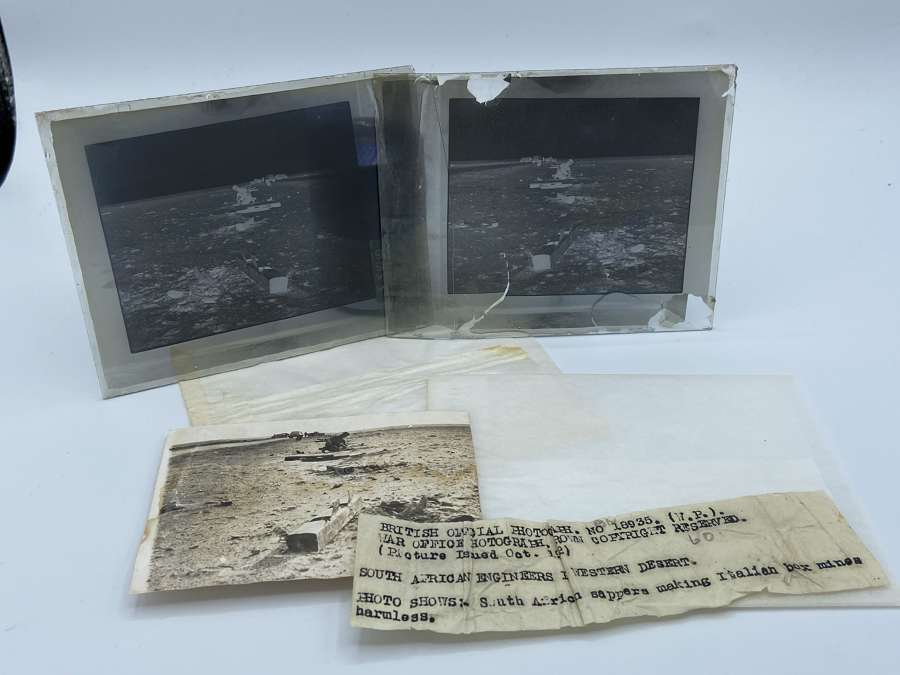 WW2 South African Enginners Glass Negative & Photo