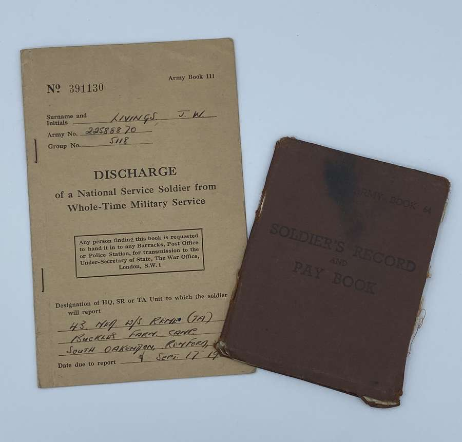Soldiers PayBook DischargeBook Pte J W Livings REME Vehicle Mechanic