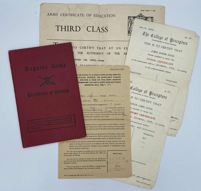 Regular Army Certificate Of Service + Paperwork Pte Gordon Birch Reme