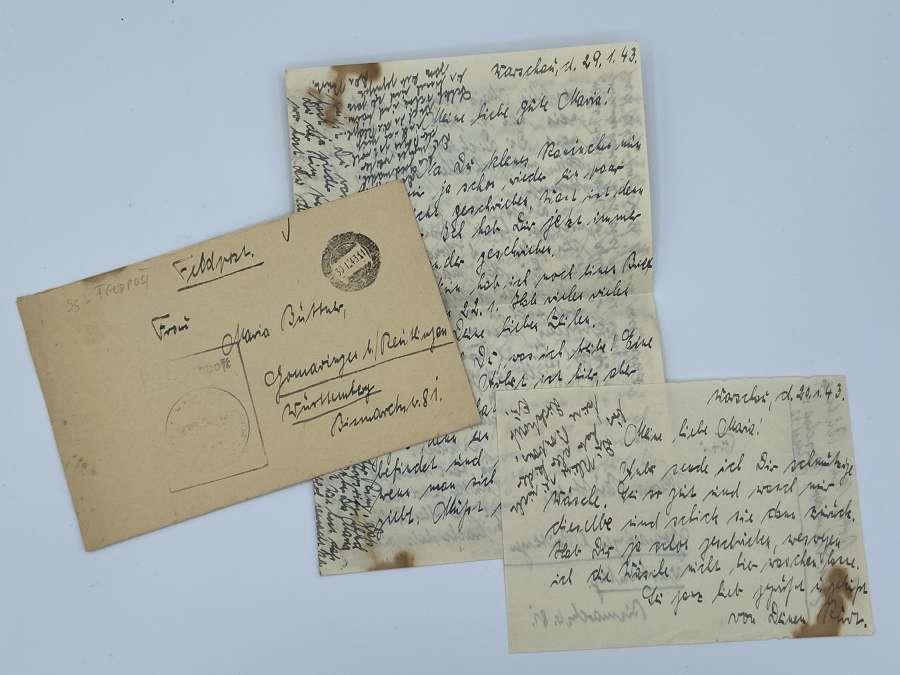 WW2 1943 German Waffen SS Field Post Letter From Warsaw Poland