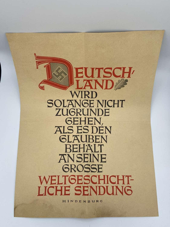 Large WW2 German Goebbels NSDAP Propaganda Poster