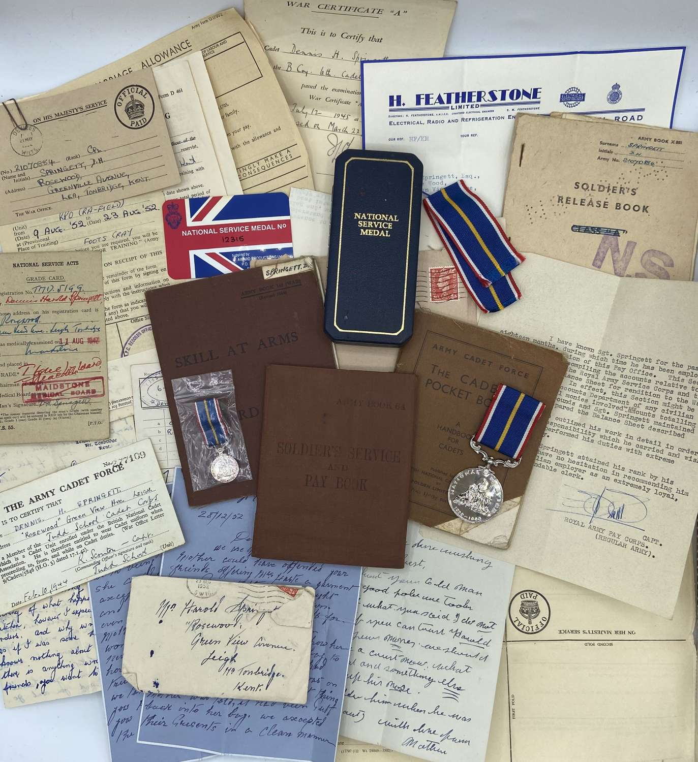 Early Post War Army Cadet Force Medal & Paperwork To SGT D H Springett