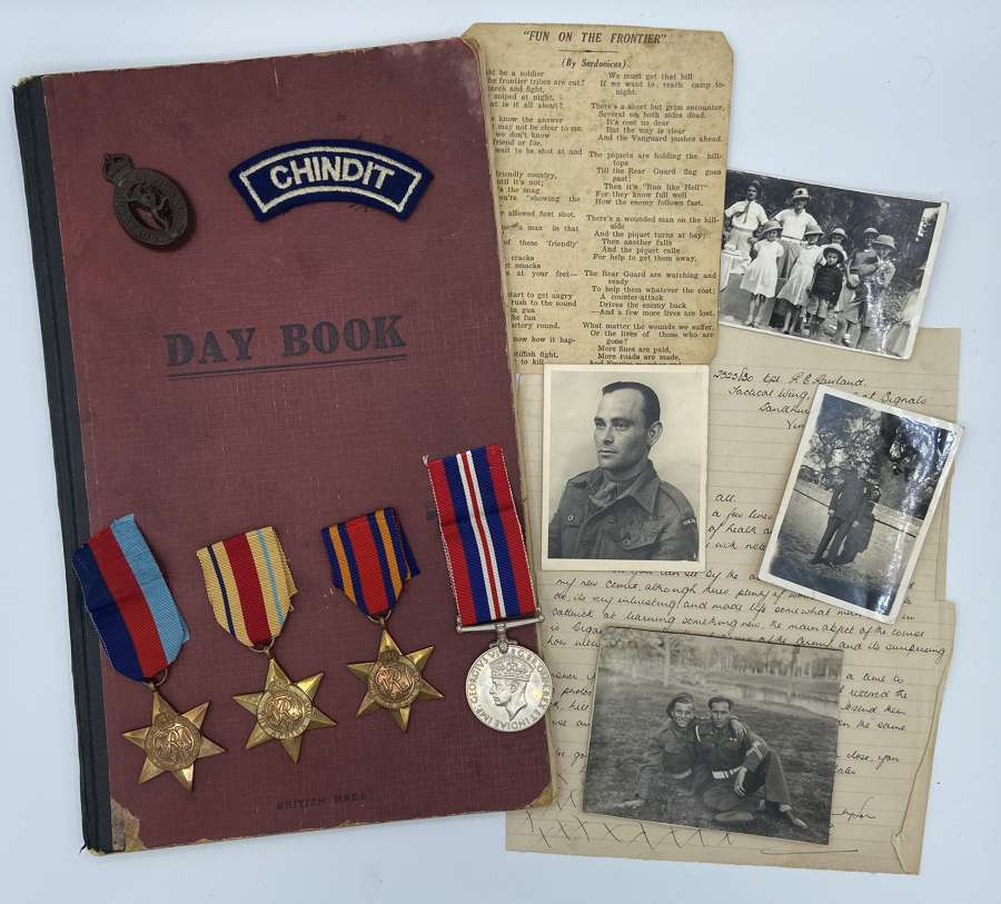 WW2 Chindit Medal Grouping Photos & Diary SGT Reginald Rowland India