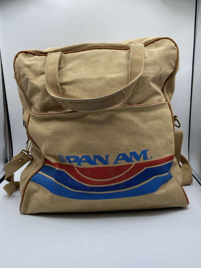 Vintage 1970s Pan Am Airlines Employees Canvas Bag NY Made