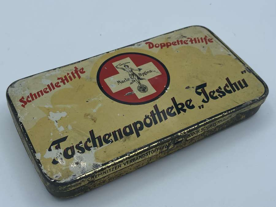 Rare WW2 German Home Luftschutz First Aid Kit Tin And Contents