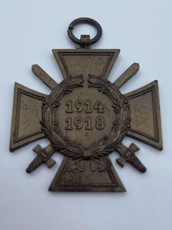 WW1 German 1914-18 Hindenburg Cross Of Honour Medal Maker Marked 0.3.