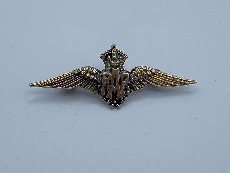 WW1 & WW2 RAF Sweetheart Brooch 9ct Gold Fronted Silver Brooch Badge