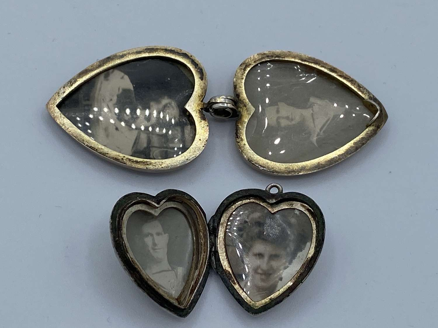 WW1 Royal Navy Silver Marked Heart Lockets With Photographs