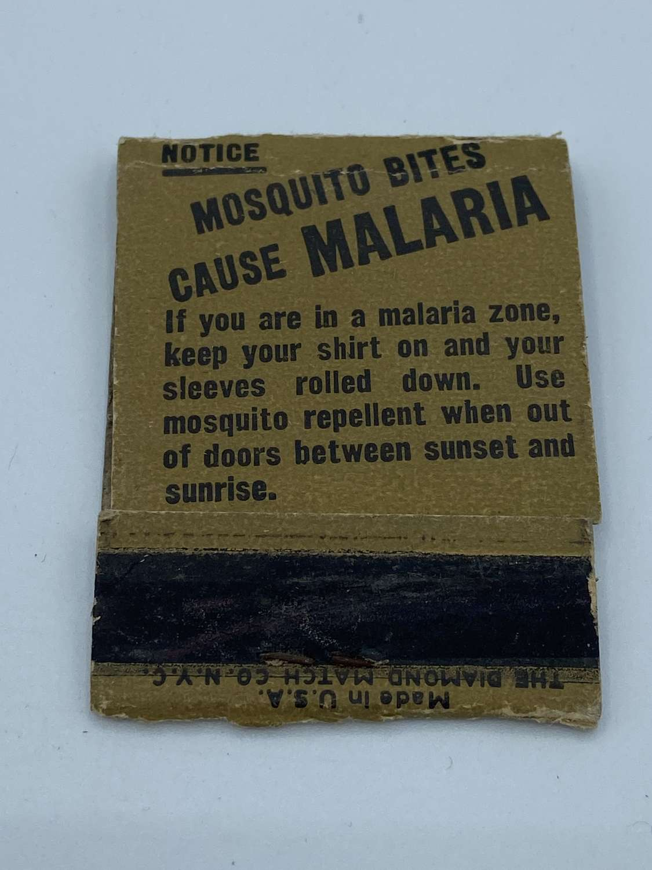 WW2 Tropical US Army Mosquito Bites Cause Malaria Match Sticks Pack