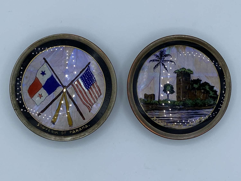 WW2 Brazilian Sailors Souvenirs Butterfly Wing Plates Panama Canal Str