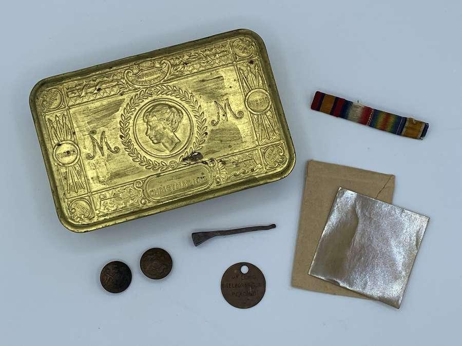 WW1 1914 Princess Mary Brass Christmas Tin Beloning To Boer War Vet