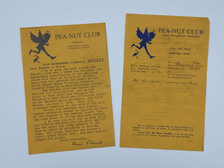 Vintage 1950s Pea-Nut Club Life Membership Hospital Charity Paperwork