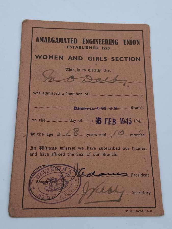 WW2 Amalgamated Engineering Union Women Section Members Card