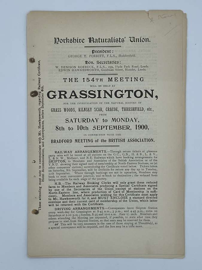 Antique Yorkshire Naturalists Union Grassington 10th September 1900