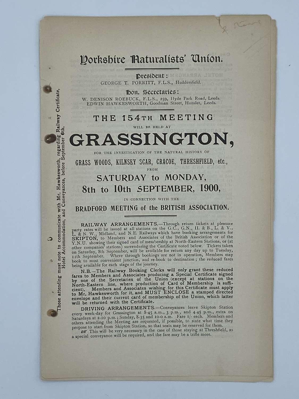 Antique Yorkshire Naturalists Union Grassington 10th September 1900