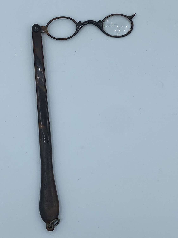 Antique Victorian 1880s Faux Tortoiseshell Lorgnette Opera Glasses